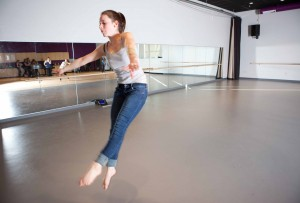 Dancer in the new black box studio at Hoosac Valley Regional Middle & High School.