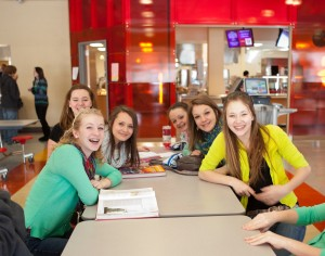 Students in the newly renovated cafeteria at Hoosac Valley Regional Middle and High School.