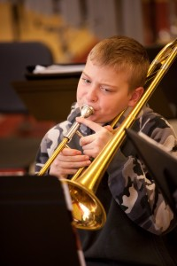 Trombone Player in the Hoosac Valley Regional Middle & High School.