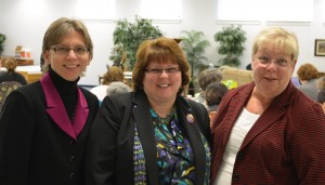 From Left: Porchlight's CFO Pat Lamont, CEO Holly Chaffee, and Chicopee VNA's Judy Cote. Cote will become Porchlight's new COO beginning April 1 when the merger becomes official.