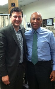 Pittsfield City Councilor John Krol and Gov. Deval Patrick