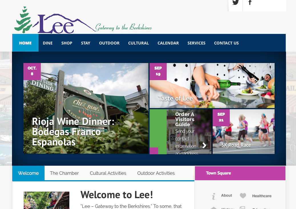 Lee Chamber of Commerce website - created by OneEighty Media