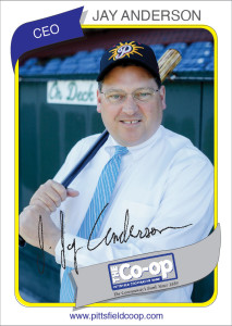 Jay Anderson, CEO, Pittsfield Cooperative Bank, steps to the plate